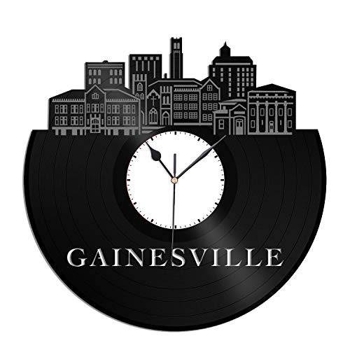 VinylShopUS - Gainesville FL Vinyl Wall Clock City Skyline Unique Gift Office Home | Bedroom Anniversary -