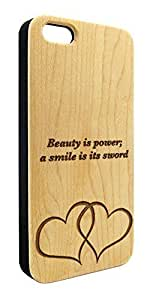 Beauty and Smile Quote with Hearts Engraved Natural Maple Wood Snap-On Cover Hard Case for iPhone 6 plus 5.5''