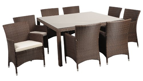 Atlantic 9-Piece Grand New Liberty Deluxe Square Wicker Dining Set, Brown with Off-White Cushions