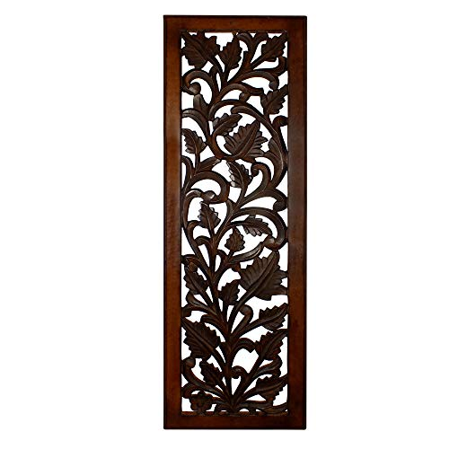 Benzara BM80949 Mango Wood Wall Panel Hand Crafted with Leaves and Scroll Work Motif, Brown (Carving Wood Panel Wall)