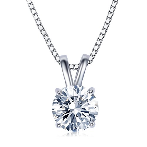 UMODE 18K White Gold Plated Cubic Zirconia Necklace for Women-2 Carat CZ Solitaire Pendant Necklace ()