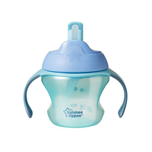 (Tommee Tippee First Sips Straw Transition Cup, Non-Spill Valve, Soft Straw, BPA-Free, 10 Ounce, 1 Count (Colors May Vary))