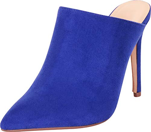 Cambridge Select Women's Pointed Toe Slip-On Stiletto High Heel Mule,7 B(M) US,Electric Blue ()