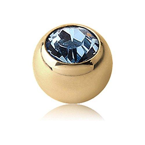 Zircon Gold Threaded Jewelled Balls - Light Blue 1.2 x 3mm ()