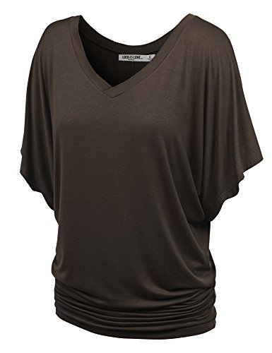 (Lock and Love WT1038 Womens V Neck Short Sleeve Dolman Top XS Brown)