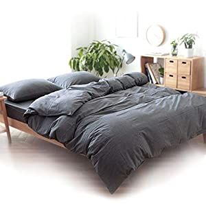 Washed Cotton Duvet Cover Set Twin Bedding Sets Soft Wrinkled Solid Design (Twin, Dark Grey)