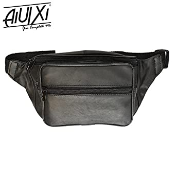 0232d0dc4895 AiUIXi1991-NEW Black Leather Fanny Pack- Mens Waist Belt Bag -Womens Purse  Hip