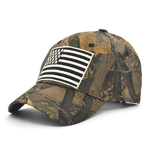 Novelty Baseball Cap Low Profile American USA Flag Army Hat Adjustable Camo Mesh Unisex Caps for Men Women Outdoor Camouflage Hunting Cap