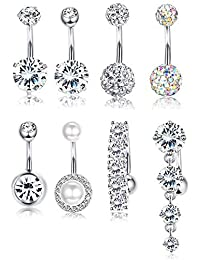8 Pcs Rhinestone Pearl Navel Rings Belly Button Ring Dangle Body Jewelry