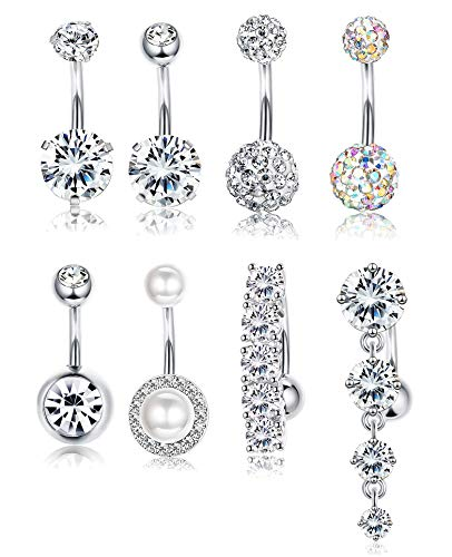 Udalyn 8pcs Belly Button Rings for Women Girls Dangle Ball Navel Rings Body Jewelry Piercing ()