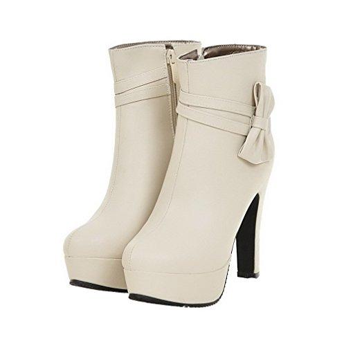 High PU Heels Beige Boots Round Toe AgooLar Women's Zipper Solid qvtgH