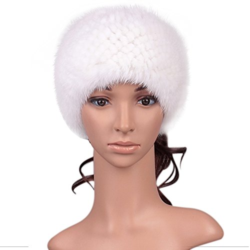 Roniky Womens Girls Genuine Mink Fur Knitted Headband Earwarmer Earmuff Hat Ski