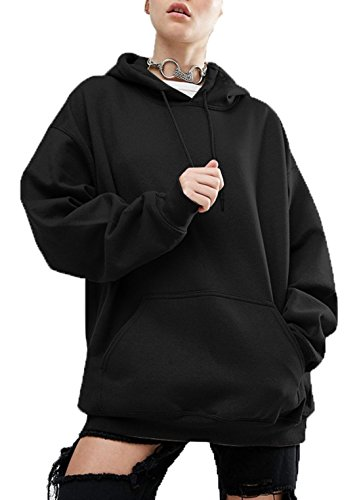 Fashion Casual Sweats Pulls Fashion Sweat Hiver Capuche Classique Manches Automne Lache Noir Simple Shirts Hauts Couleur Tops Chemisiers Pullover Blouse Femmes Unie Longues wYnRdqwxUf