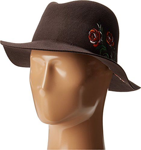 San Diego Hat Company Women's WFH8051 Floppy Round Crown with Floral Embroidery Brown Hat
