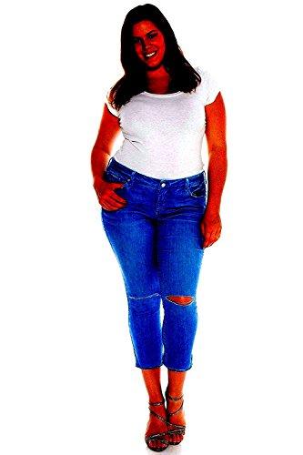 Studio Q Womens Plus Size Ripped Skinny Roll up Blue Denim Jeans Distressed Pants