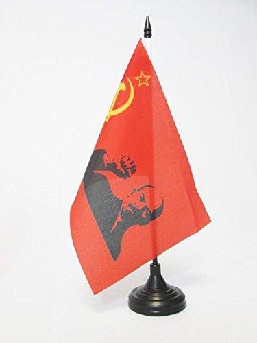 AZ FLAG USSR with Lenin Raised fist Table Flag 5'' x 8'' - Soviet Union Communist Desk Flag 21 x 14 cm - Black Plastic Stick and Base