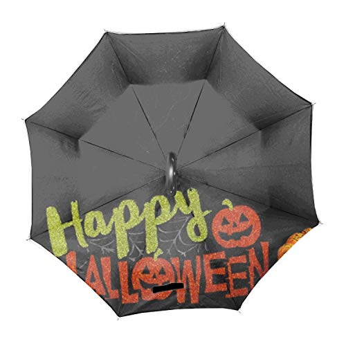 Halloween Night Inverted Umbrella,Double Layer Reverse Umbrella for Car and Outdoor Use