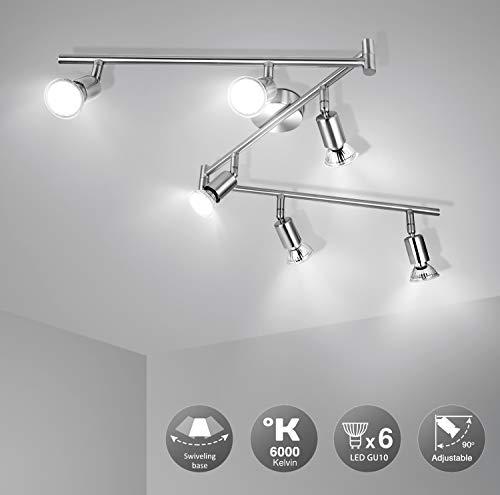 41lZ522N2zL 🌞Diseño Moderno: Esta lámpara de techo salón es fabricado con efecto de níquel mate, bien acabado. Es ajustable que conviene por su versatilidad y baja generacion de calor. Destaca por su elegancia, delicada, resistencia y antioxidante. Perfecto para techo e interiores. 🌞Montaje Fácil: La lámpara techo focos LED se pueden reemplazar por GU10 (menos de 50W). No solo ofrece una iluminación LED de fácil montaje con transformador incluido, sino que estos focos de 230V se pueden utilizar en habitaciones, dormitorios, cocinas, pasillos, etc. Ojo: Instalar el soporte con un destornillador en la pared & techo, conectar la lámpara al soporte sin hacer agujero. 🌞Pivotante: wowatt lámpara foco de 6W son orientables y ajustables a propia preferencia. Longitud total de la luz del techo: 120 cm. Amplitud de la varilla: 1,2 cm. Dimensiones de la base: 8 x 8cm. Sumergen cada habitación con una iluminación adecuada gracias a sus cabezales giratorios. Ofrecen una larga vida útil de mas de 30000h de luz blanca fría.
