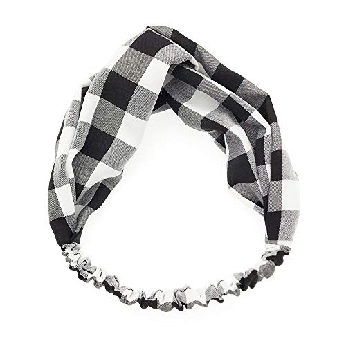 iNoDoZ Women's Headbands,Retro Plaid Soft and Stretchy Hair Band Accessories for Fashion Black -