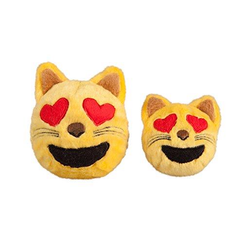 Image of fabdog Cat Heart Eyes Emoji faball Squeaky Dog Toy (Small)