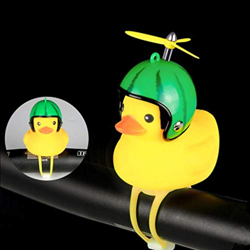 Sodoop Bike Horn,Cute Cartoon Yellow Little Duck Shape Bicycle Lights Bell,Squeeze Horns for Toddler Children & Adults Cycling Light Rubber Duck Helmet Toys (A)