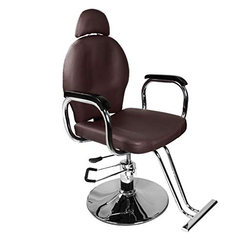(Brown Classic Recline Hydraulic Barber Chair Styling Salon Beauty)