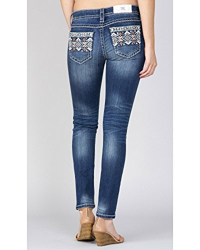 Miss Me Women's Indigo Embroidered Pocket Ankle Jeans Straight Indigo 26 - Juniors Embroidered Pocket Jeans