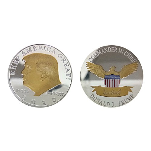 (Auxsoul Donald Trump Challenge Coin 2020,Two Tone Gold on Silver Plated Commemorative Coin Collectible Presidential Coin ,in Gold We Trust, 40mm( Type)