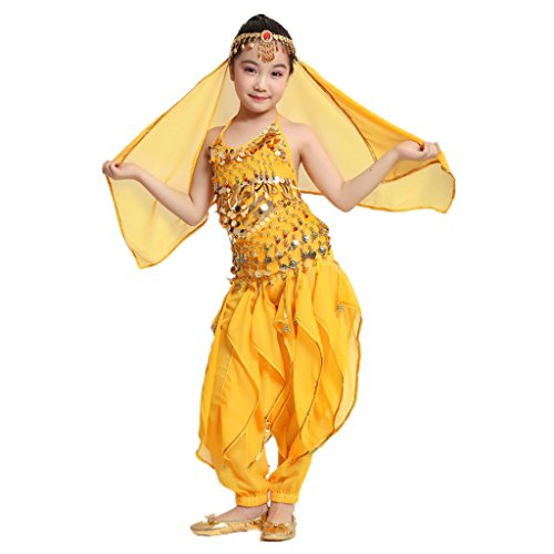 MUNAFIE Children Belly Dance Costumes Fancy Party Cosplay Costumes Halloween Dance Sets(Large,Yellow) -
