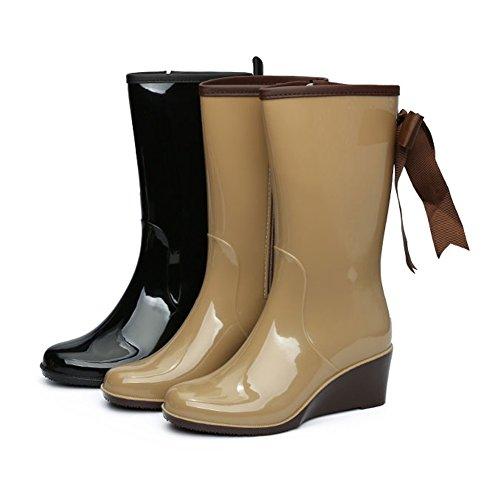 fereshte Rain Women's With Wedge Black Boots Side Bow Mid Waterproof Zipper Heel Calf rrBdw8q