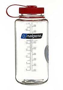 Nalgene Tritan Wide Mouth BPA-Free Water Bottle, Clear w/ Red Cap, 32-Ounces