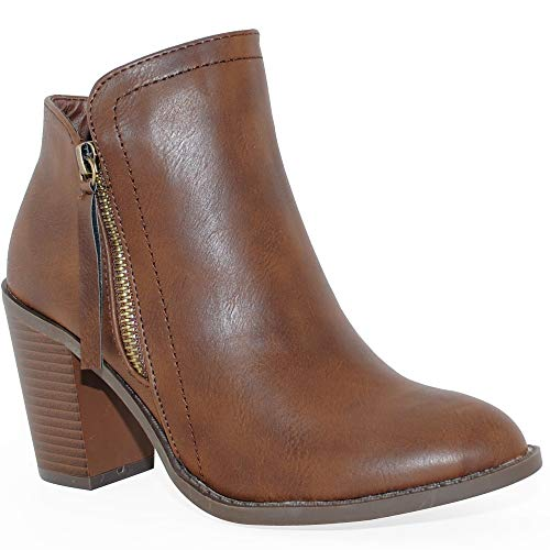 TRENDSup Collection Women's Fashion Suede Booties (6 B(M) US, Brown PU)