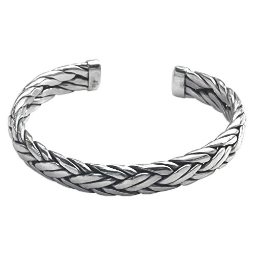 NOVICA Men's Modern Woven .925 Sterling Silver Cuff Bracelet 'Flowing Water' by NOVICA