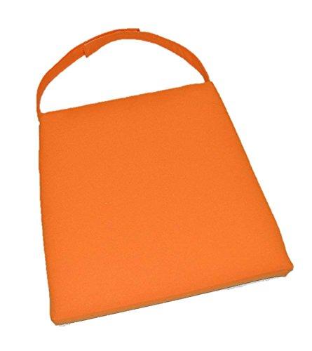 Foam Mandarin (In/Outdoor Soho Rattan Wicker/Banana Leaf/Seagrass Parson Chair Trapezoid Foam Seat Cushion w/Strap - Elegant Mandarin Orange - 17