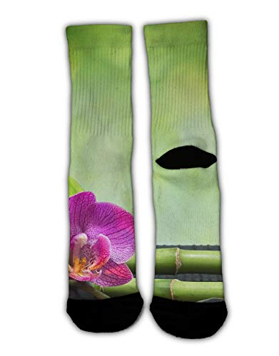 AllCOVER High Ankle Cotton Crew Socks for Women Men Spa Decoration Asian Zen Garden Orchid Candle Stone Bamboo Zen -