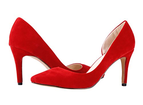 D'orsay Toe Women's Stiletto CAMSSOO Red Pump Pointed wEtqnxd4