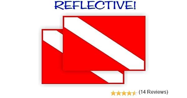 Jay Graphics 2 Pegatinas Reflectantes para Bandera de Buceo, par de calcomanías de Vinilo Impermeables/Banderas de Buceo Etiquetas de Engranaje Insignias Cascos Casco Duro Brilla Seguridad: Amazon.es: Deportes y aire libre