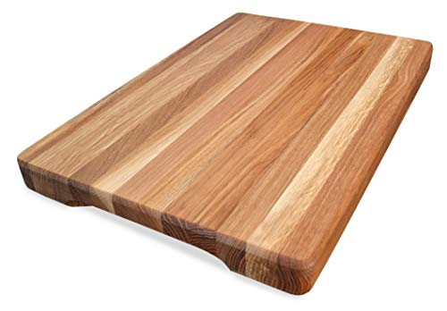 Cutting Board 18 x 12 x 1.6 inches Edge Grain Chopping Block Wood: Maple & Oak Hardwood Extra Thick Appetizer Serving Platter Durable & Resistant ()