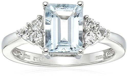 10k White Gold Octagon Aquamarine and Round White Topaz Ring, Size 7 by Amazon Collection