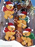 (US) Design Works Plastic Canvas Kit - Candy Cane Bear 4 Ornaments