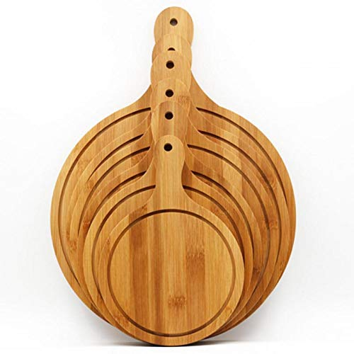 (Best Quality - Pizza Tools - 1Pc Bamboo Pizza Serving Tray Round Pizza Cutting Board with Handle Bread Fruits Platter Steak Sushi Tray Kitchen Baking Tools - by SeedWorld - 1 PCs)