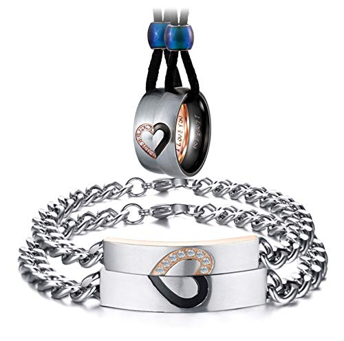 Aienid Necklace and Bracelet Set for Couples Stainless Steel Heart Matching Rings CZ