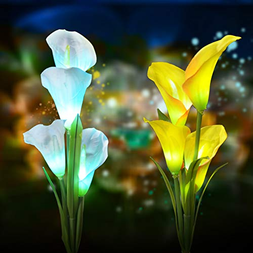 Solar Flower Lights Outdoor Decorative – Outdoor Solar Garden Stake Lights Calla Lily 7 Multi-Color Changing Waterproof LED Solar Lights for Garden,Patio,Backyard Decor 2 Pack Review
