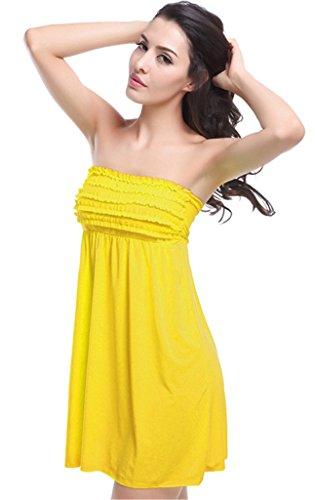 NEWZCERS La playa de una sola pieza sin tirantes atractiva del bikiní de las señoras cubre sube el traje de baño corto del vestido de la playa del bandeau de la colmena amarillo