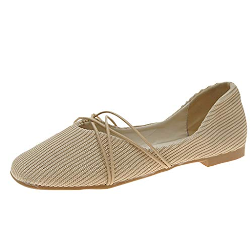 Malbaba Women's Ballet Flats Classic Girls Casual Cross Strap Round Toe Slip-On Comfort Walking Shoes Beige