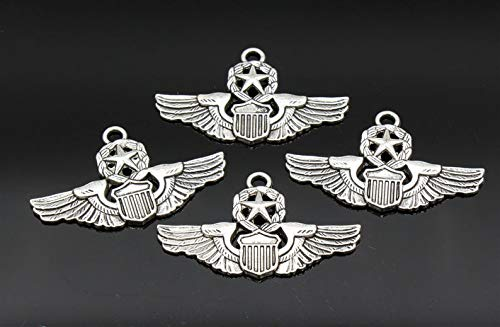 (pakuda 3 Pcs Air Force Charms Pilot Wings Charms Antique Silver Tone 28x47mm - YD0129)