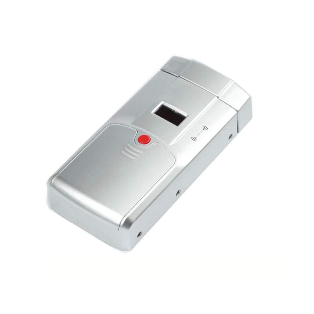 YMXLJJ Smart Fingerprint Door Lock Bathroom Hotel Stainless Steel Padlock Remote Control Digital Door Lock with 4 Remote Control (Silver),A