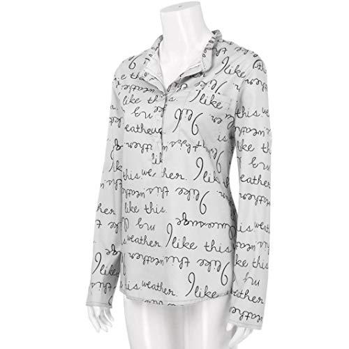 1ad8681c60db29 ABsoar Blusen Damen Hemd Pullover Langarm Shirts Tunika Frauen Plus Größe  V-Ausschnitt Taste Langarm Brief Bluse Tops Shirt S~5XL: Amazon.de:  Bekleidung