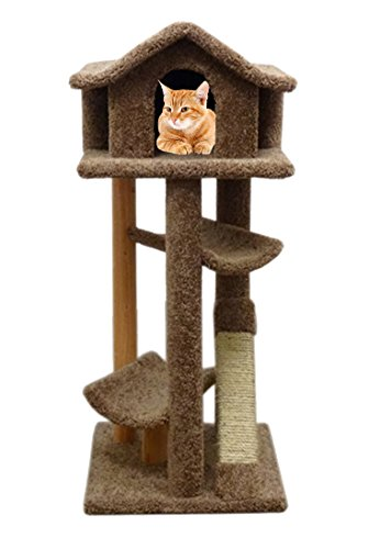 - Cat Tree Wood Large Large Kitty Tower Scratcher Pagoda House, Brown Carpet