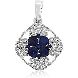 """0.31 Carat (ctw) 14k Gold Round Blue Sapphire and Diamond Filigree Pendant with 18"""" Chain Necklace (1 x 1 MM)"""